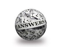 Respuestas en bola de los signos de interrogación 3d Fotos de archivo libres de regalías