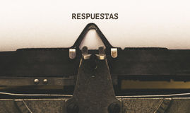 Respuestas, Spanish text for Answers on vintage type writer from. Respuestas, Spanish text for Answers, on paper in vintage type writer machine from 1920s stock photos