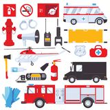 Resque services concept for ambulance, swat, first aid and fire engine isolated on white background. Set with emergency services o. Bjects and cars Royalty Free Stock Photography