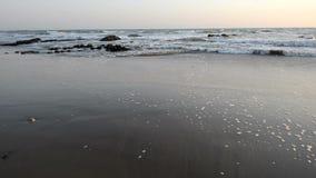 Ressac égalisant calme au littoral de l'Océan Atlantique banque de vidéos
