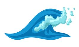Ressac bleu avec la mousse illustration de vecteur