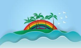 Ressac et paume merveilleux d'été de slogan de coucher du soleil d'arc-en-ciel de la Californie Photo stock