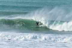 Ressaca de dezembro, praia de Fistral, Newquay, Cornualha imagens de stock royalty free
