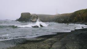 Ressaca que quebra sobre a rocha, área natural proeminente principal de Yaquina foto de stock royalty free
