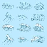 Ressacs de croquis Vague tirée par la main de tempête de mer illustration libre de droits