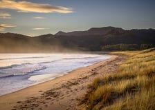 Ressacs sur la plage à la baie Nouvelle-Zélande de Waikawau image libre de droits