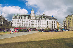 Ressort à Oslo, Norvegia Strets de vue, nature à Oslo Images libres de droits