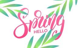 Ressort Bannière avec les feuilles à la mode de ressort Ressort à la mode de conception de lettrage de manuscrit bonjour Images stock