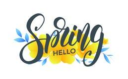 Ressort Bannière avec les fleurs à la mode de ressort Ressort à la mode de conception de lettrage de manuscrit bonjour Image libre de droits