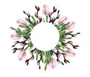 Ressort d'invitation de fleurs d'aquarelle, tulipes, saule, feuilles illustration libre de droits
