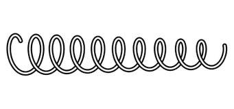 Ressort en acier en métal de ressort de ressort hélicoïdal sur le vecteur blanc de fond Images libres de droits