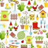 Ressort et modèle sans couture de jardinage Outils, décorations et symboles saisonniers de ressort sur un fond blanc cartoon illustration de vecteur
