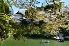 Ressort impérial de fleurs de cerisier de voyage de bateau de jardin de palais photographie stock