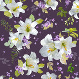 Ressort Lily Flowers Background Illustration de Vecteur