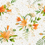 Ressort Lily Flowers Background - modèle floral sans couture Illustration Stock