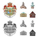 Ressortissant, symbole, dessin, et toute autre icône de Web dans la bande dessinée, style monochrome Le Danemark, attributs, styl illustration de vecteur