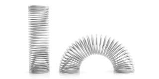 Ressorts en métal sur le fond blanc illustration 3D Images libres de droits