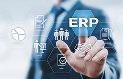 Ressource d'entreprise prévoyant le concept d'entreprise de technologie d'Internet d'affaires de direction de l'entreprise d'ERP Images libres de droits