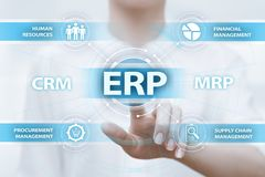 Ressource d'entreprise prévoyant le concept d'entreprise de technologie d'Internet d'affaires de direction de l'entreprise d'ERP Photographie stock libre de droits