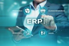 Ressource d'entreprise prévoyant le concept d'entreprise de technologie d'Internet d'affaires de direction de l'entreprise d'ERP Photo libre de droits