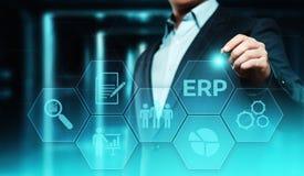 Ressource d'entreprise prévoyant le concept d'entreprise de technologie d'Internet d'affaires de direction de l'entreprise d'ERP Photographie stock