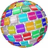 Ressourcen-Wort deckt Kugel-wichtige Informations-Zugangs-Fähigkeiten Kn mit Ziegeln Lizenzfreie Stockbilder