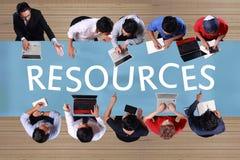 Ressources dans le concept d'affaires Se réunir d'hommes d'affaires de vue supérieure photographie stock libre de droits