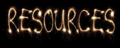 Ressources de mot écrites le sparkler Images stock