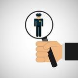 ressources humaines recherchant le graphique d'homme de police Photos stock