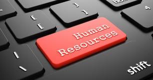 Ressources humaines sur le bouton rouge de clavier Images stock