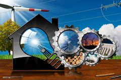 Ressources renouvelables - Chambre avec l'ampoule Photographie stock