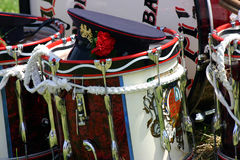 THE REST. SHOT OF SOME OF A MARCHING BANDS EQUIPMENT AT A CULTURAL PARADE IN NORTHERN IRELAND Stock Photos