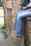 Rest. On ancient wall in Prague Royalty Free Stock Photography