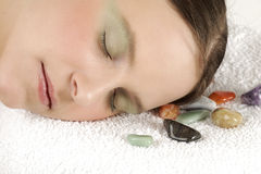 Rest. Young woman has a rest in spa Stock Photos