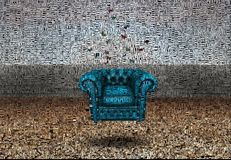 Rest. Abstract painting. Couch Image composed entirely of words text vector illustration
