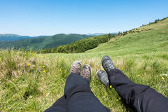Rest in active hiking in the mountains Stock Photo