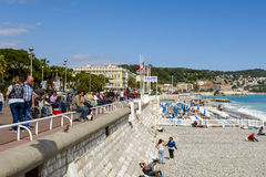 Rest along the coastline in Nice Royalty Free Stock Images