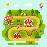 Rest in the amusement park. Flat design vector summer landscape illustration of amusement park with air balloon, carousel with kid, ferris wheel, roller coasters royalty free illustration