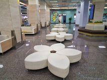 Rest area with Empty seats inside Taipei Songshan Airport Stock Photo