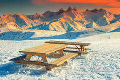 Rest area in the French Alps. Resting place in the high mountains,Les Sybelles,France,Europe Stock Images