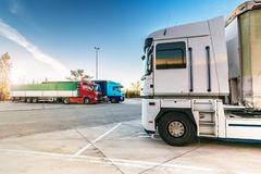 Rest area for heavy trucks, at the end of a working day stock photography