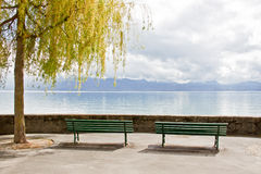 Rest area at Lake Geneva, Lausanne, Switzerland 2 Stock Images