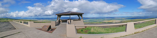 Rest Area Panoramic View. The clouds are at eye level while observing the scenic view on top of Emigrant Hill in Eastern Oregon. Emigrant Hill, commonly called Royalty Free Stock Photo