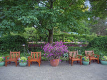 Rest area in the park. Chairs among lush greenery create a rest area in the park Stock Photo