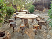 Rest area - park Wooden tables and chairs Stock Photography