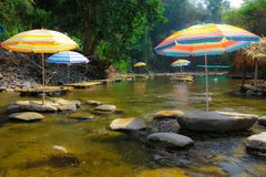 Stream and rest area on dry season Royalty Free Stock Photography