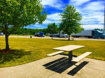 Rest Area Picnic Table. A picnic table at a rest area Stock Photos