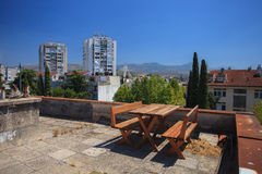 Rest area. On the roof in Podgorica, Montenegro Royalty Free Stock Image