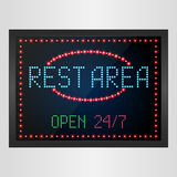 Rest area sign with light neon shining on signboard Stock Images