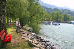 Rest area on the swiss lake Royalty Free Stock Photo